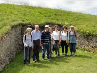 Walking the Holst Way - group photograph at Belas Knap